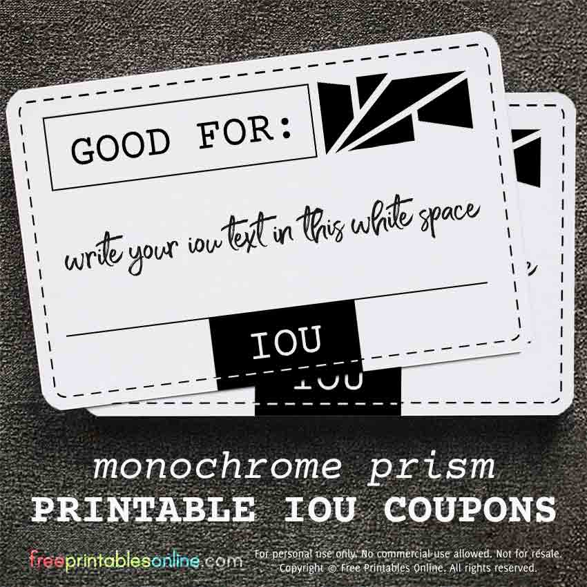 Sticky pad of reward//gift coupon IOU voucher book