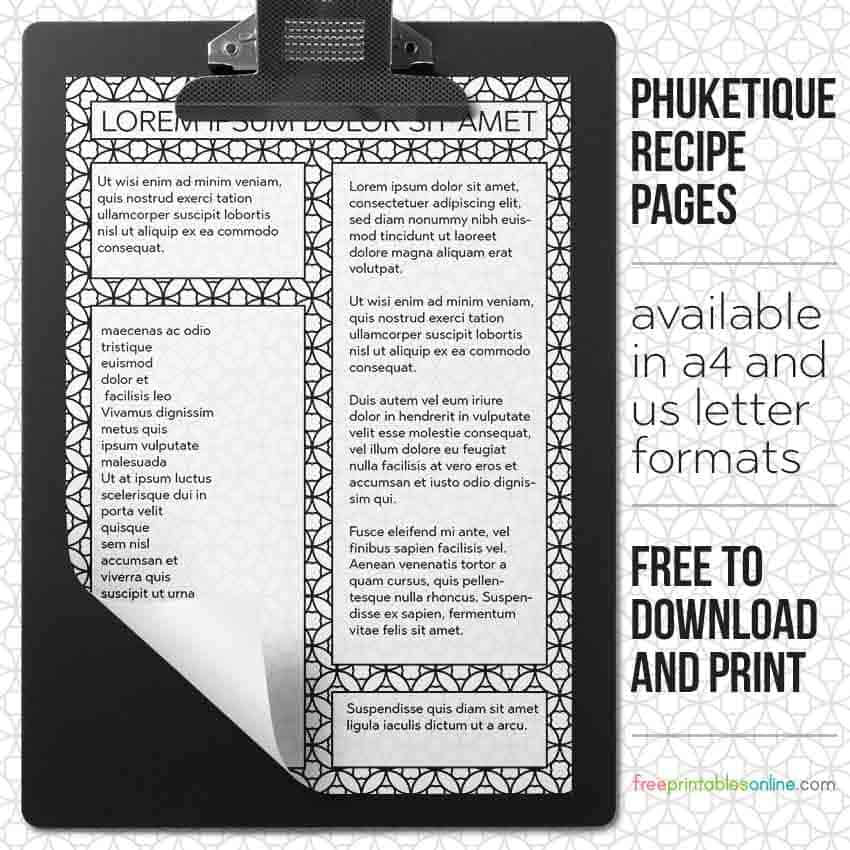 Personalized Printable Phuketique Recipe Pages
