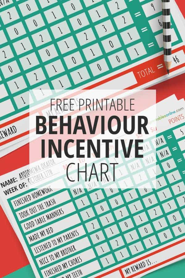 Free Printable Behavior Incentive Chart