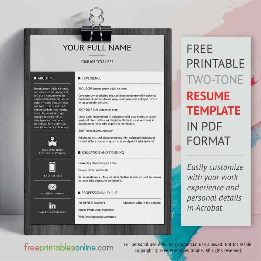 two tone free professional resume template