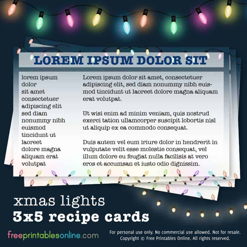 XMAS LIGHTS 3X5 RECIPE CARDS