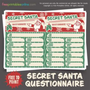 Secret Santa Questionnaire
