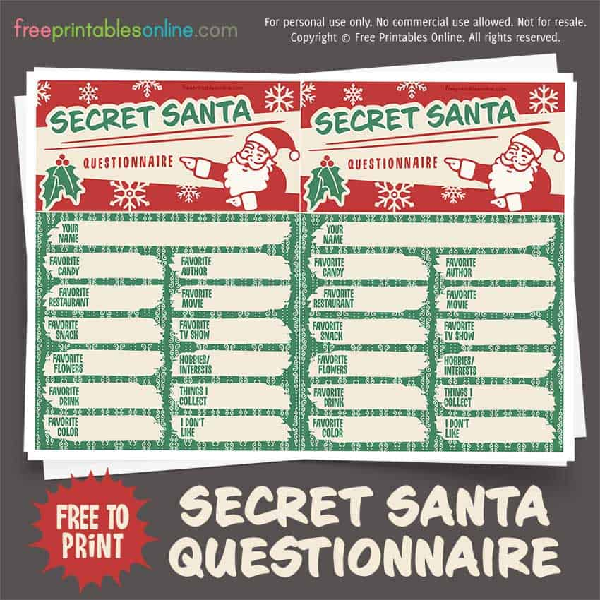 photograph relating to Printable Secret Santa List Questions titled Key Santa Questionnaire - Totally free Printables On the net