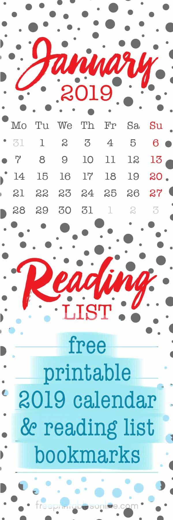 2019 calendar bookmarks