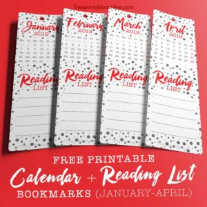 2019 Monthly Calendar Reading List Bookmarks