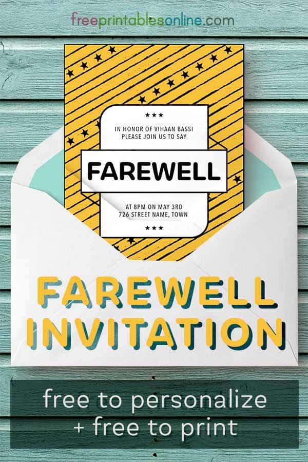 Printable Farewell Invitation
