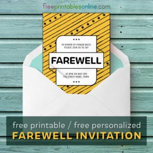 Farewell Invitation Card