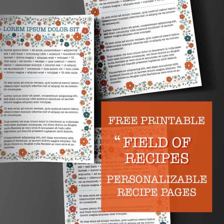 floral recipe page template