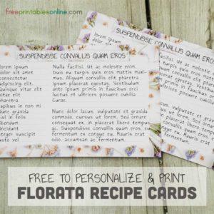 Florata Recipe Cards