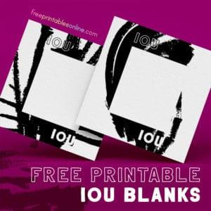 Just plain IOU Blanks