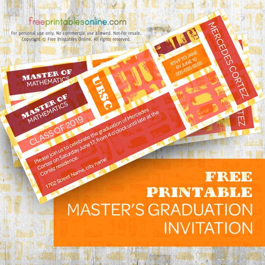 Printable master's graduation invitation