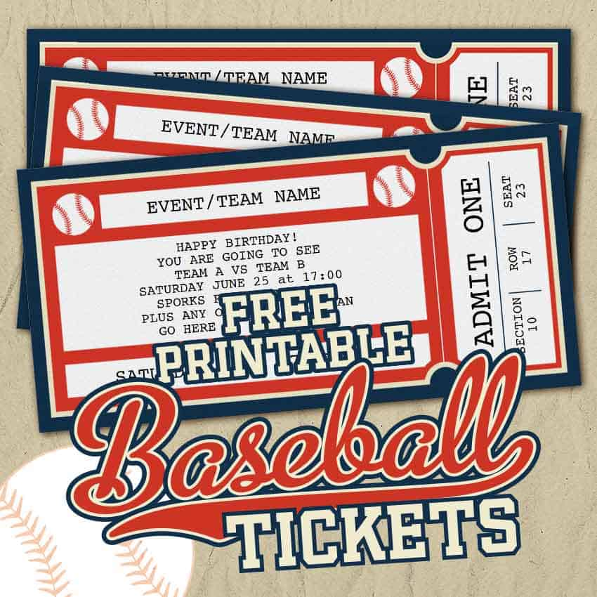 Free Printable Baseball Tickets
