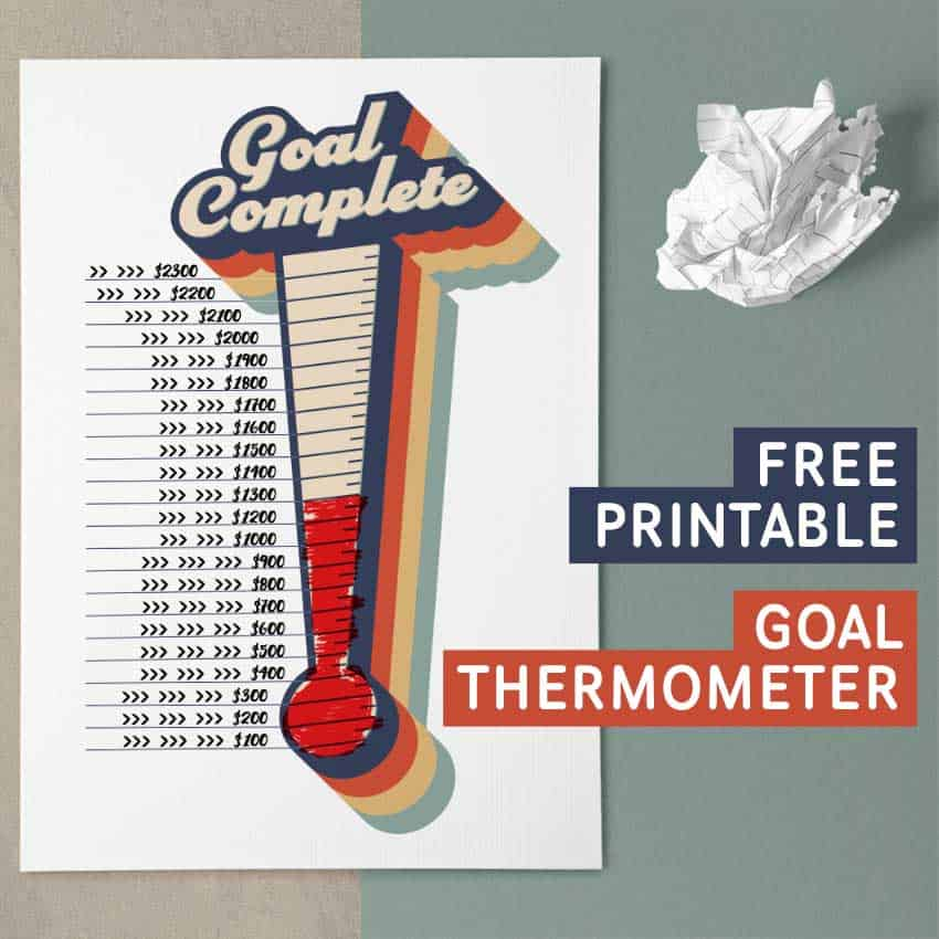 Printable Goal Tracking Thermometer