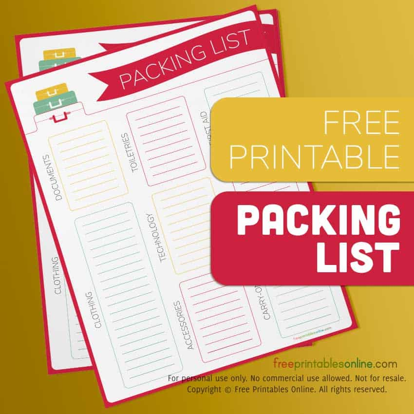 Suitcases Printable Packing List