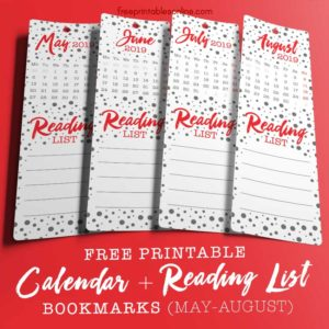 2019 Reading List Bookmarks