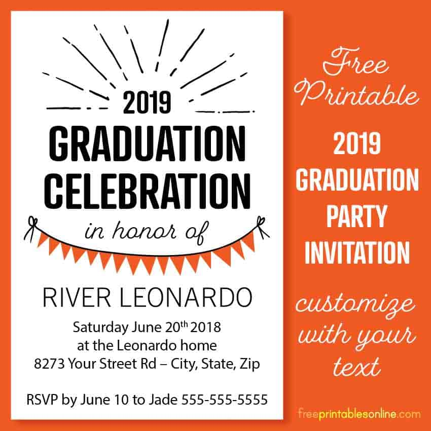 image regarding Free Printable Graduation Party Invitations identify 2019 4x6 Commencement Bash Invitation Templates - No cost