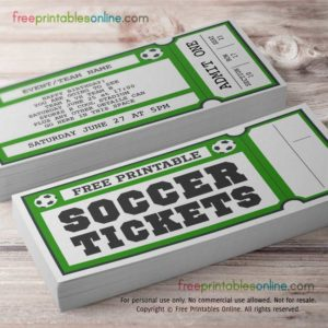 Free Printable Soccer Ticket template