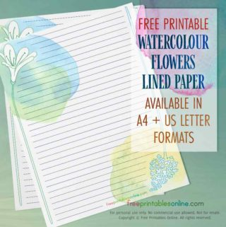 Watercolor flowers lined stationery