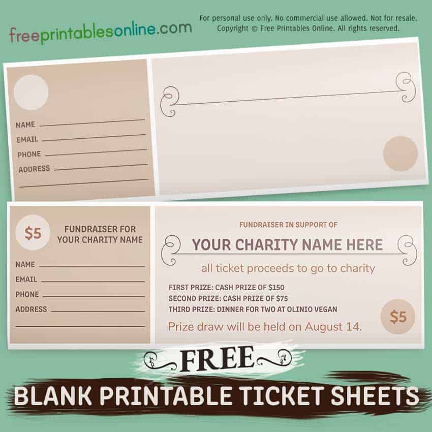 Free Blank Fundraiser Printable Tickets
