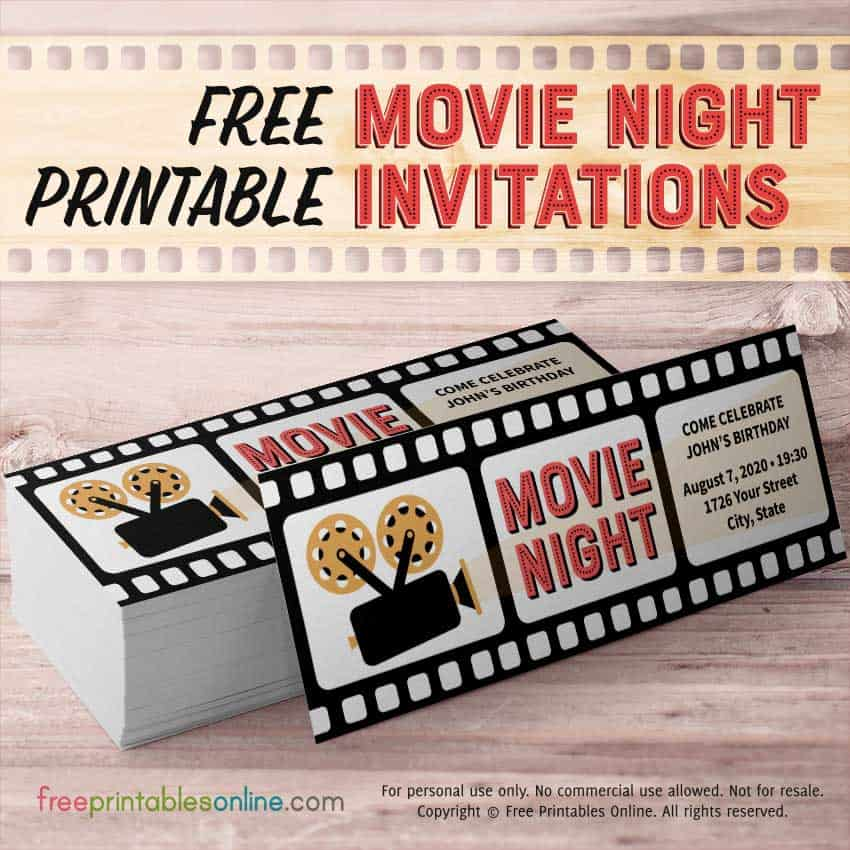 Printable Movie Night Invitations