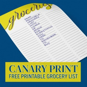 Canary Print Downloadable Grocery List