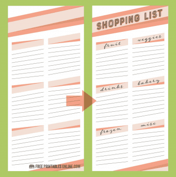 Coral Color Shopping List
