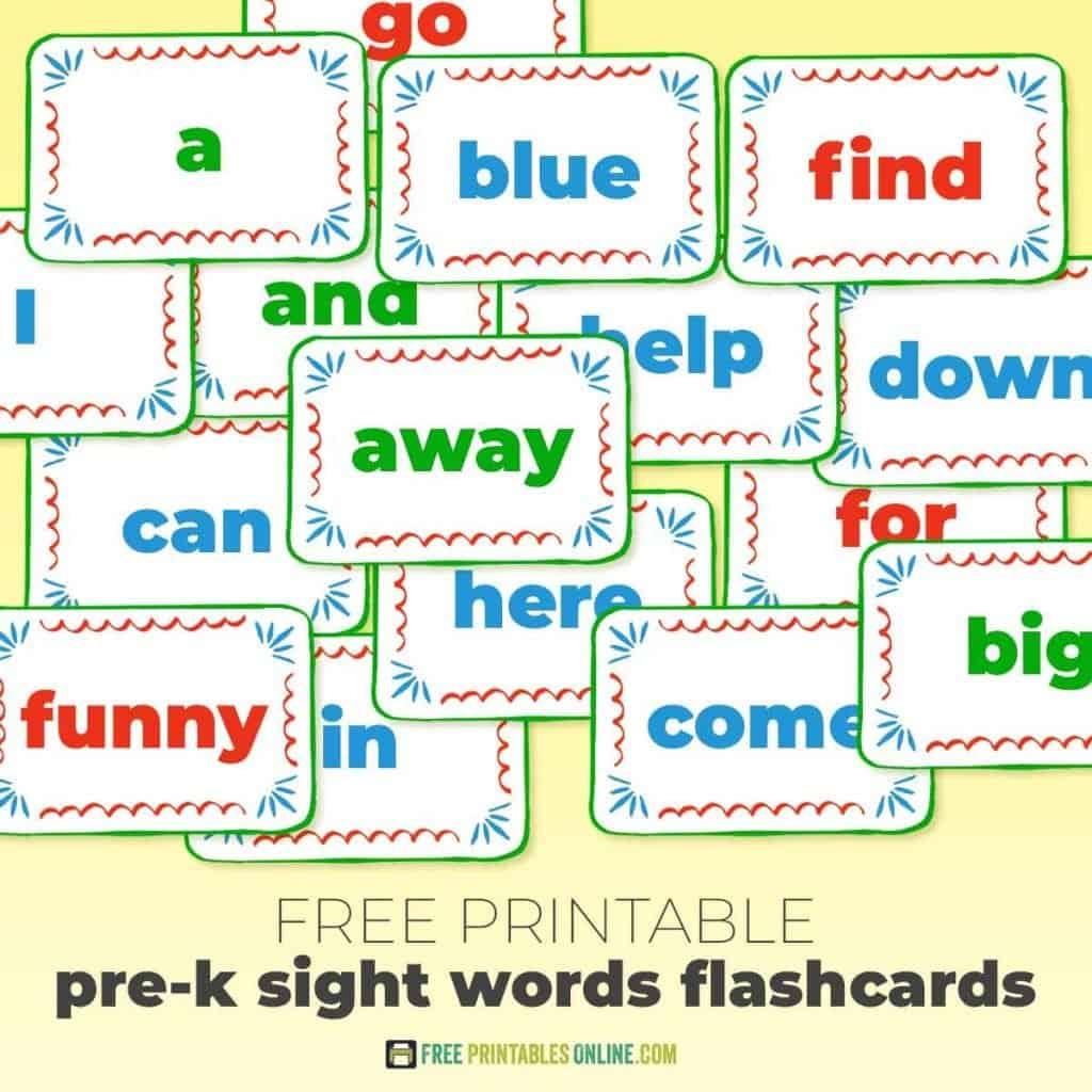 Printable pre-k sight words flashcards