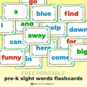 Printable pre-k sight words flashcards