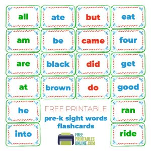 Kindergarten Sight Words Flash Cards