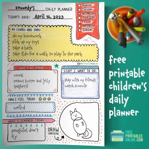 printable Children's Daily Planner