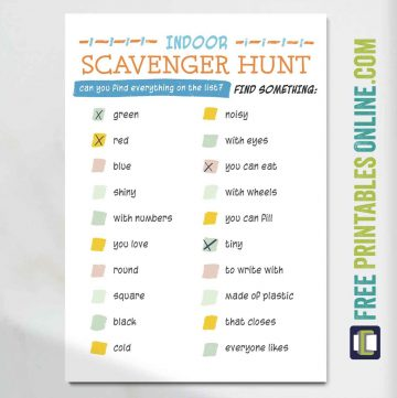 Printable indoor scavenger hunt