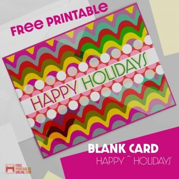 Blank Printable Happy Holidays Card