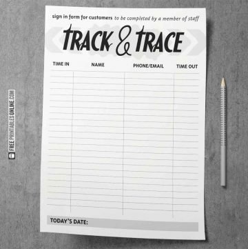 A4 Covid Track and Trace Forms