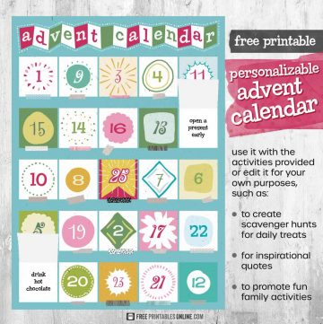 Free advent calendar template