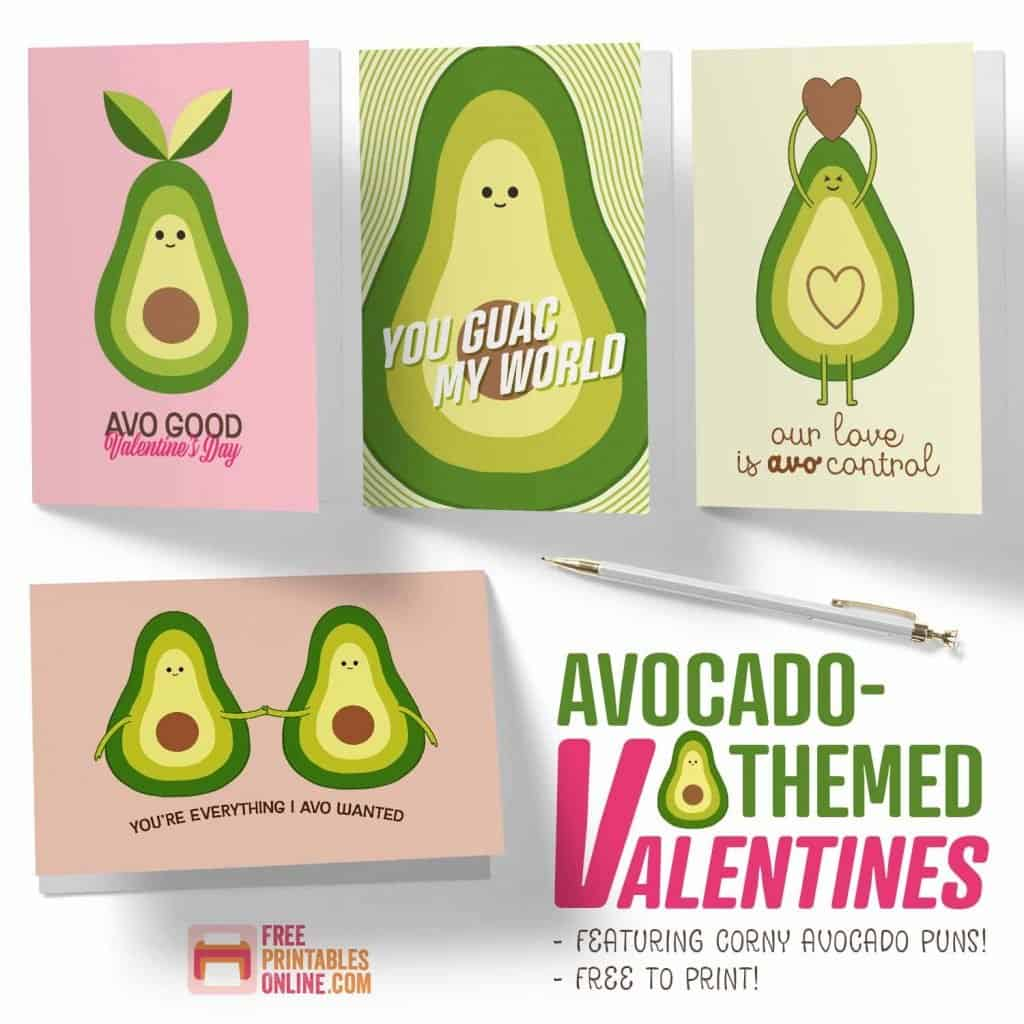 Avocado Valentine Punny Cards