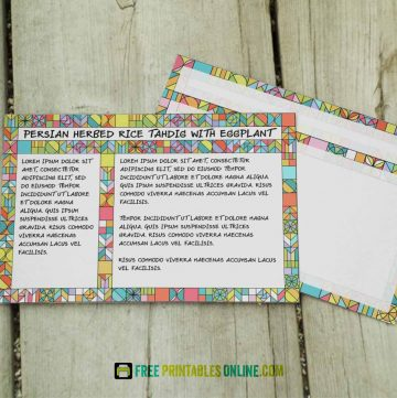 Vibrant Tiled Recipe Cards