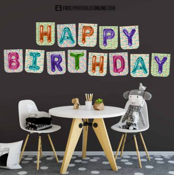 Foil Balloon Happy Birthday Banner to print