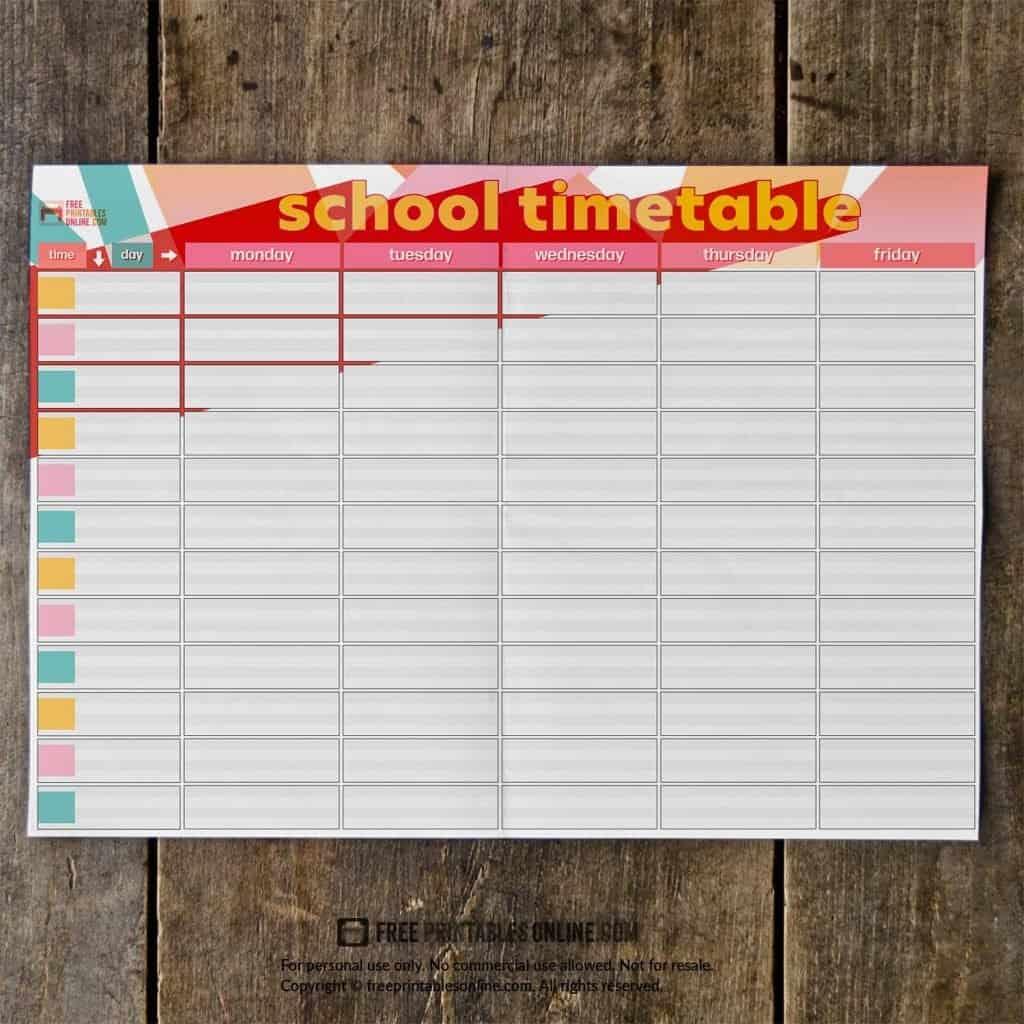 printable school timetable