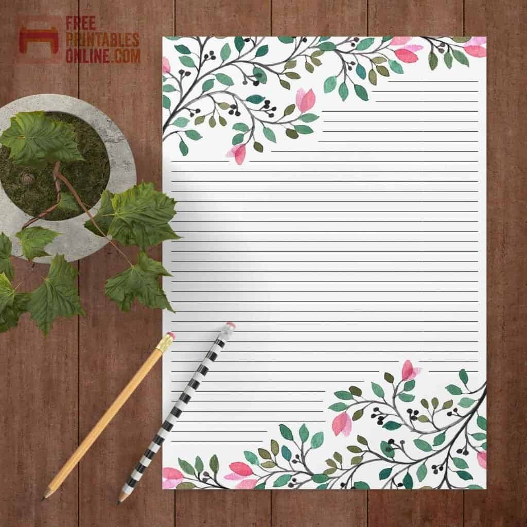 Watercolor branch in bloom lined stationery A4 thumbnail