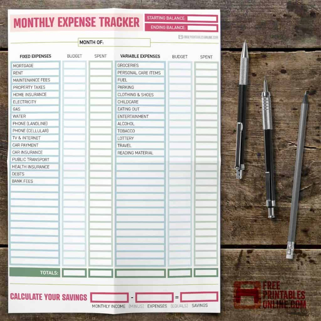 free printable monthly expense tracker