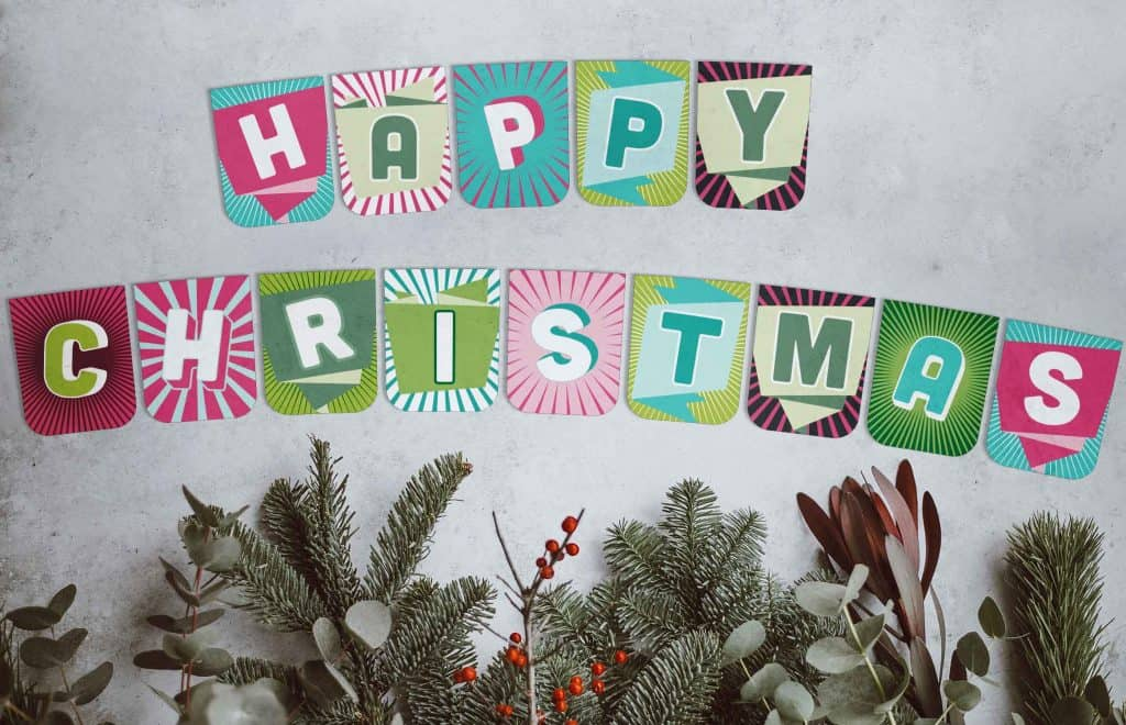 Free happy Christmas banner to download and print