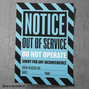 Printable Out of Order Signs